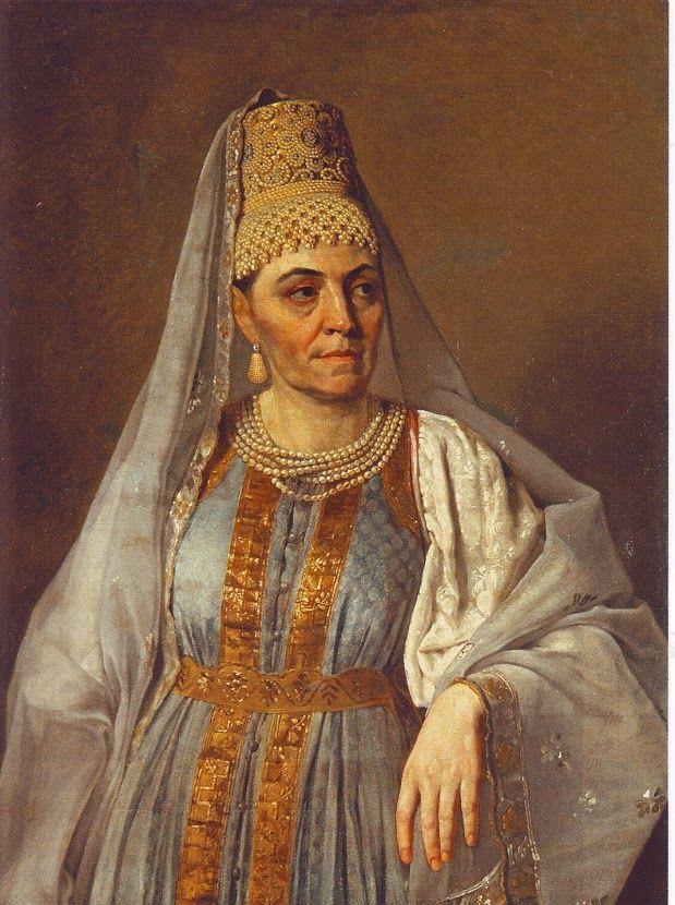 Алексей Гаврилович Венецианов (1780 - 1847) «Портрет М.А. Венециановой в русском наряде»