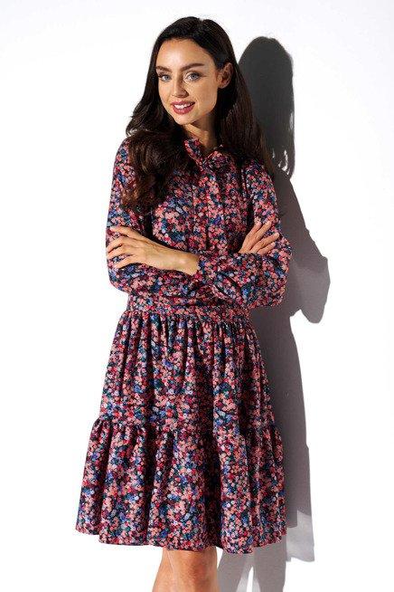 Swobodna Sukienka W Modne Wzory Z Falbana I Kokarda Kobieta Odziez Sukienki Sukienki Shop Dresses With Sleeves Long Sleeve Dress Womens Dresses