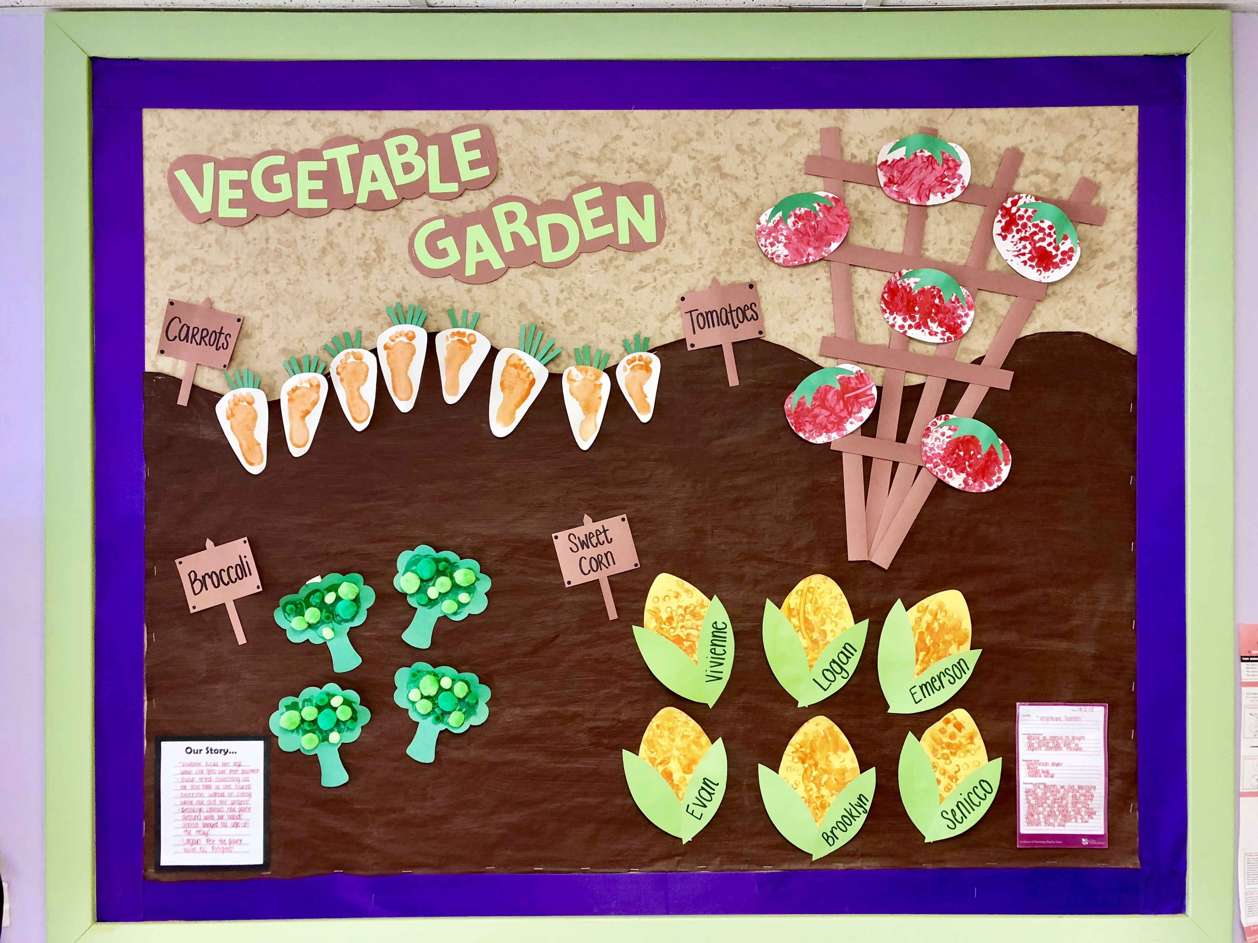 Vegetable Garden Growing Gardens Infant Art Projects Infant Classroom Baby Art Projects Toddler Art Projects Garden Crafts For Kids