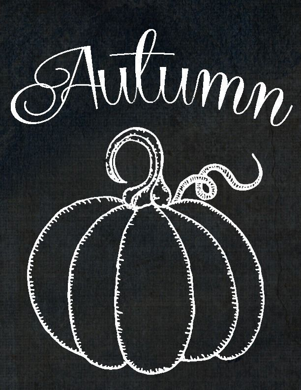 Free Printables ~ Chalkboard Autumn Pumpkin is part of Fall chalkboard, Fall chalkboard art, Pumpkin chalkboard, Chalkboard drawings, Chalkboard printables, Chalkboard designs - Today I'm sharing 2 free printables with my autumn pumpkins  One has the trendy chalkboard background and white is colorless so you can pick