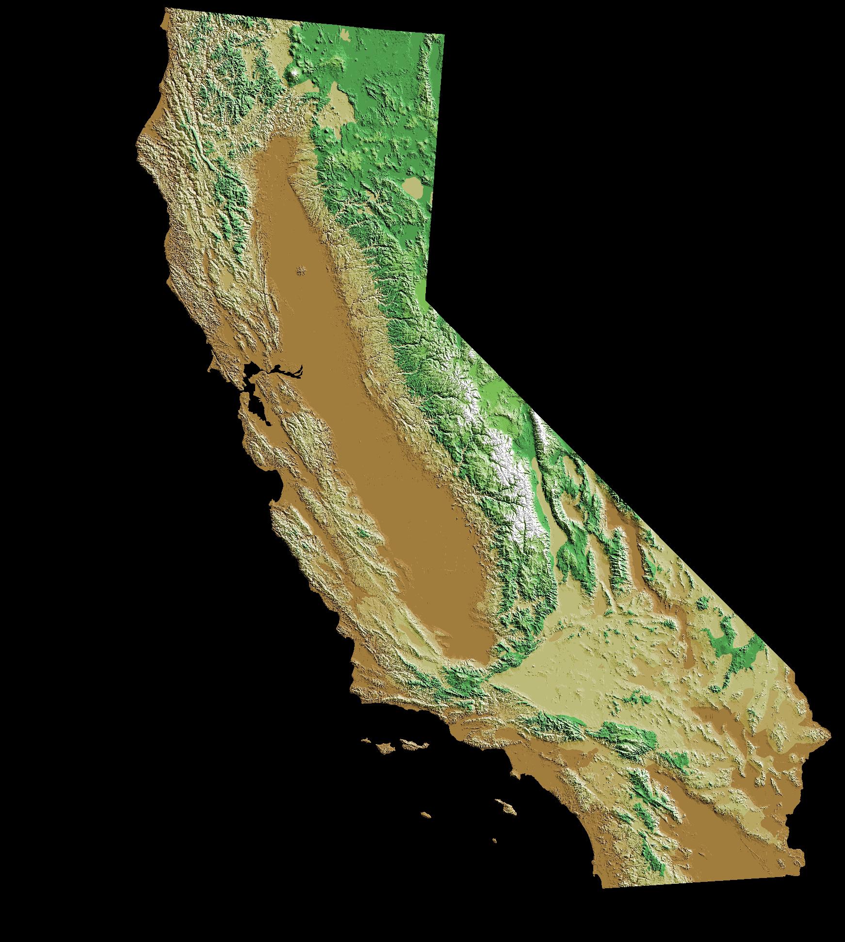 Digital topographic elevations map of California Digital