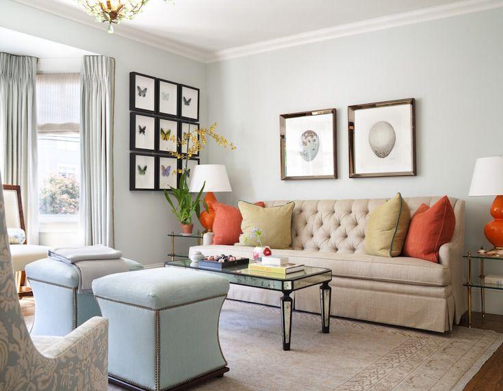 Interior Design By Kelly Keiser Robins Egg Blue Living Room With Orange  Details Better Homes U0026