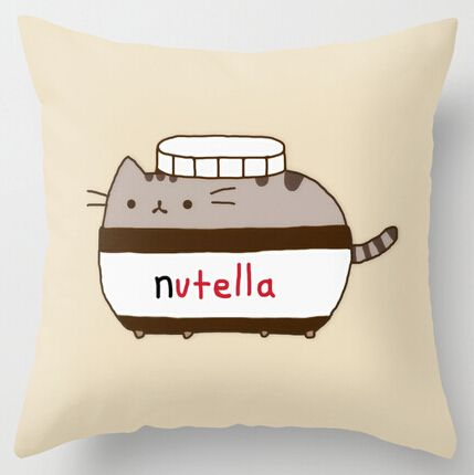 Cool Art Design Cute Funny Nutella Cat Pillow Cases two sides printing for 12\u0027\u0027 & Cool Art Design Cute Funny Nutella Cat Pillow Cases two sides ... pillowsntoast.com