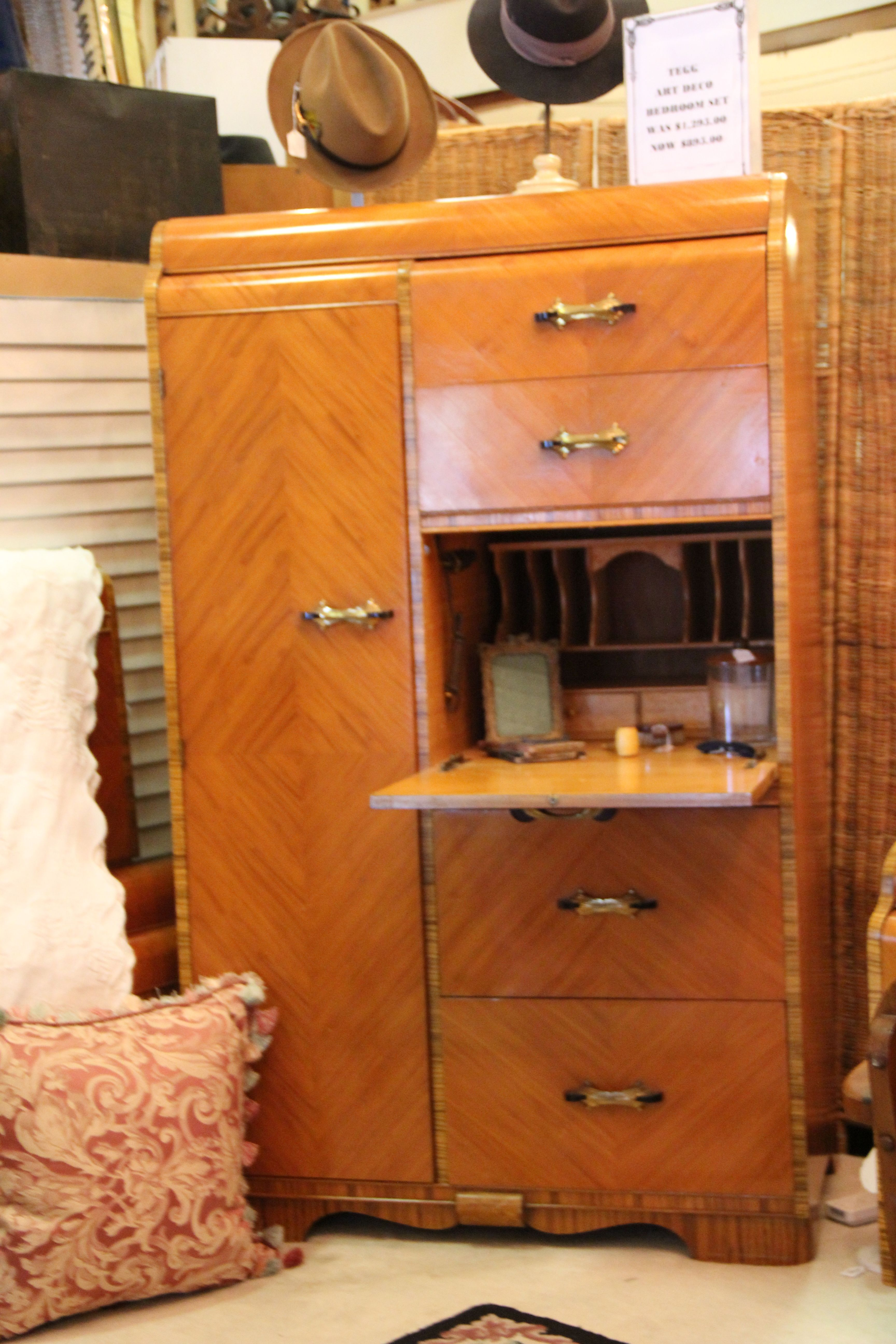 Vintage Waterfall Vanity And Armoire ~ Art deco waterfall chifferobe forsale
