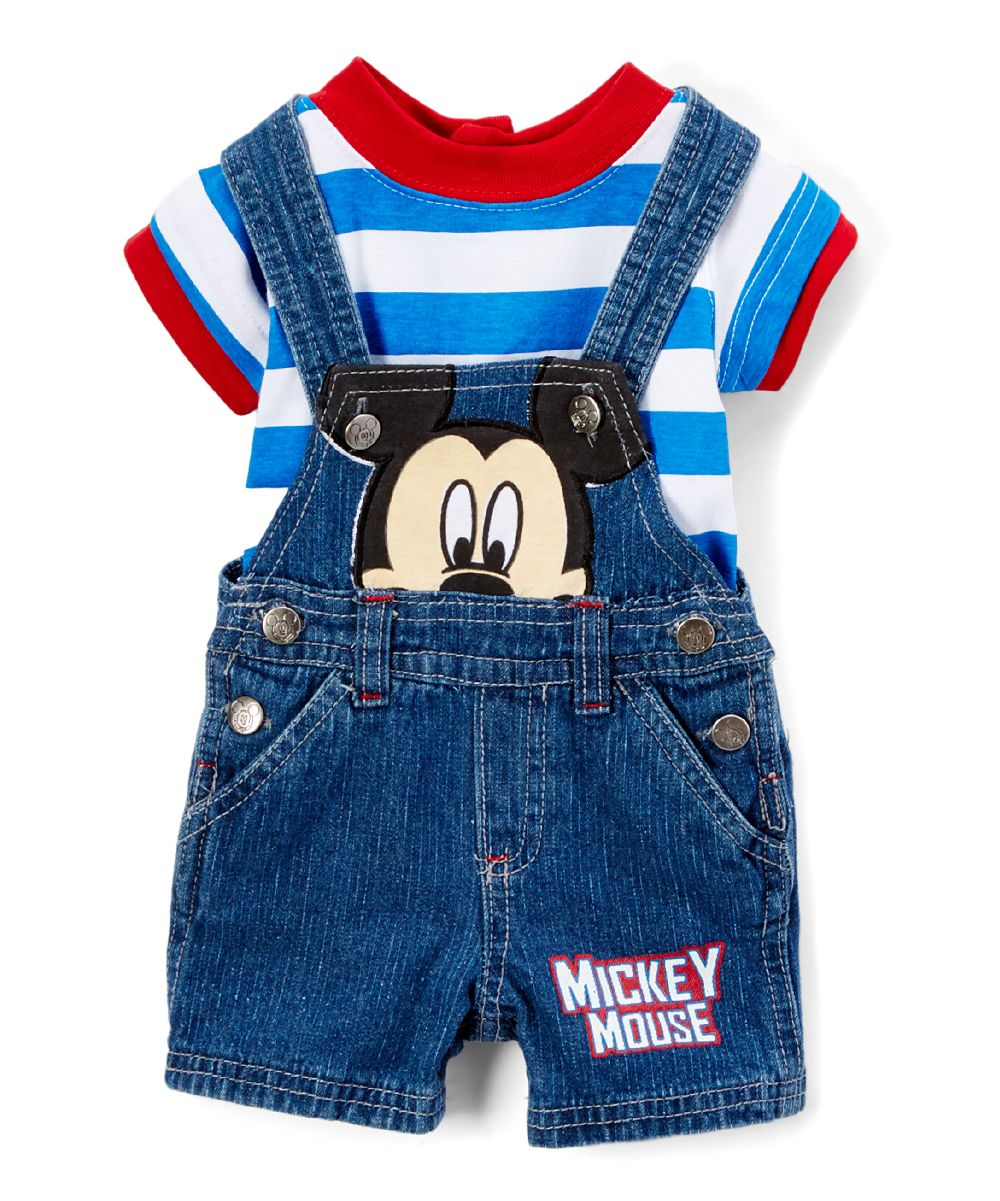 95e731cc9 Blue Mickey Mouse Shortalls & Tee - Infant Baby Boy Overalls, Baby Boy  Outfits,