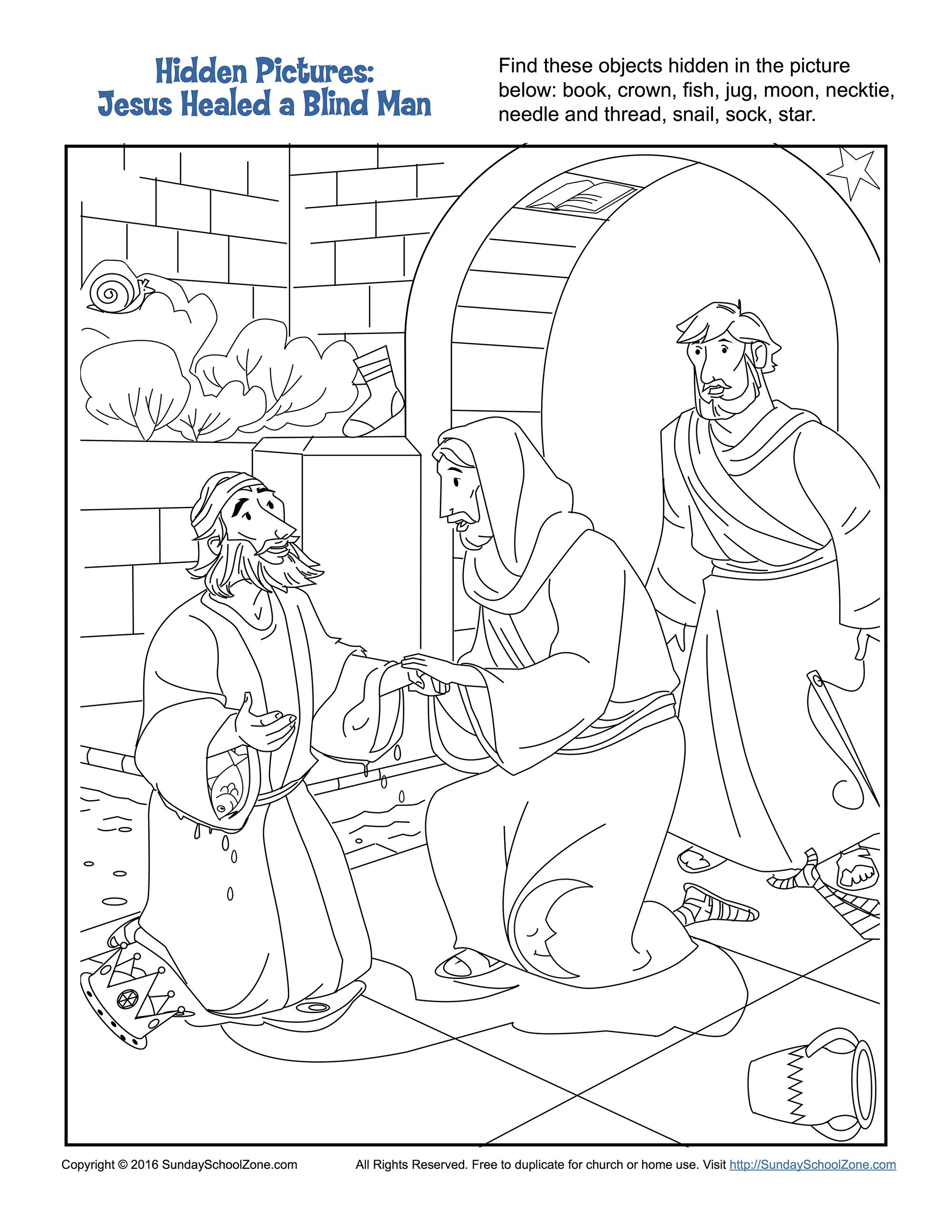 Jesus Healed A Man Born Blind Hidden Pictures Activity Bible