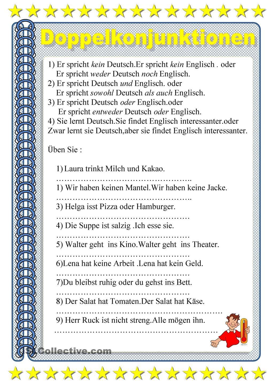 Doppelkonjunktionen | Languages | Pinterest | Mittelstufe, Schreiben ...