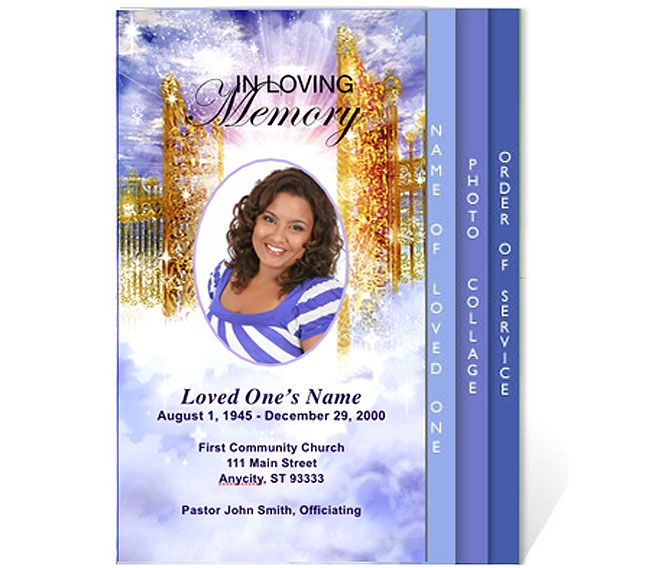 Free Funeral Program Templates | ... Funeral Program Template » Funeral  4 Page  Free Memorial Template