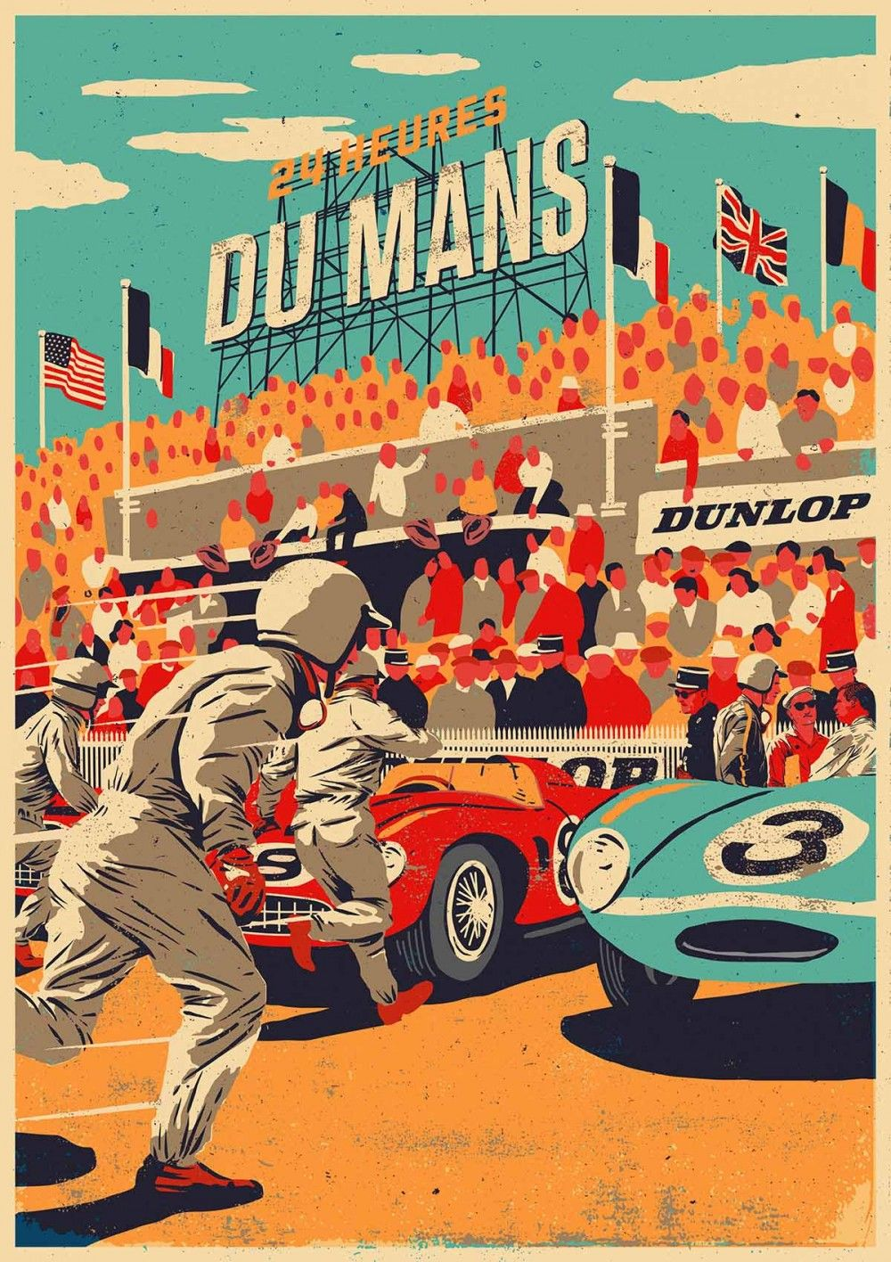 dunlop le mans 1950 poster le mans pinterest cartelitos le mans y cuadros antiguos. Black Bedroom Furniture Sets. Home Design Ideas