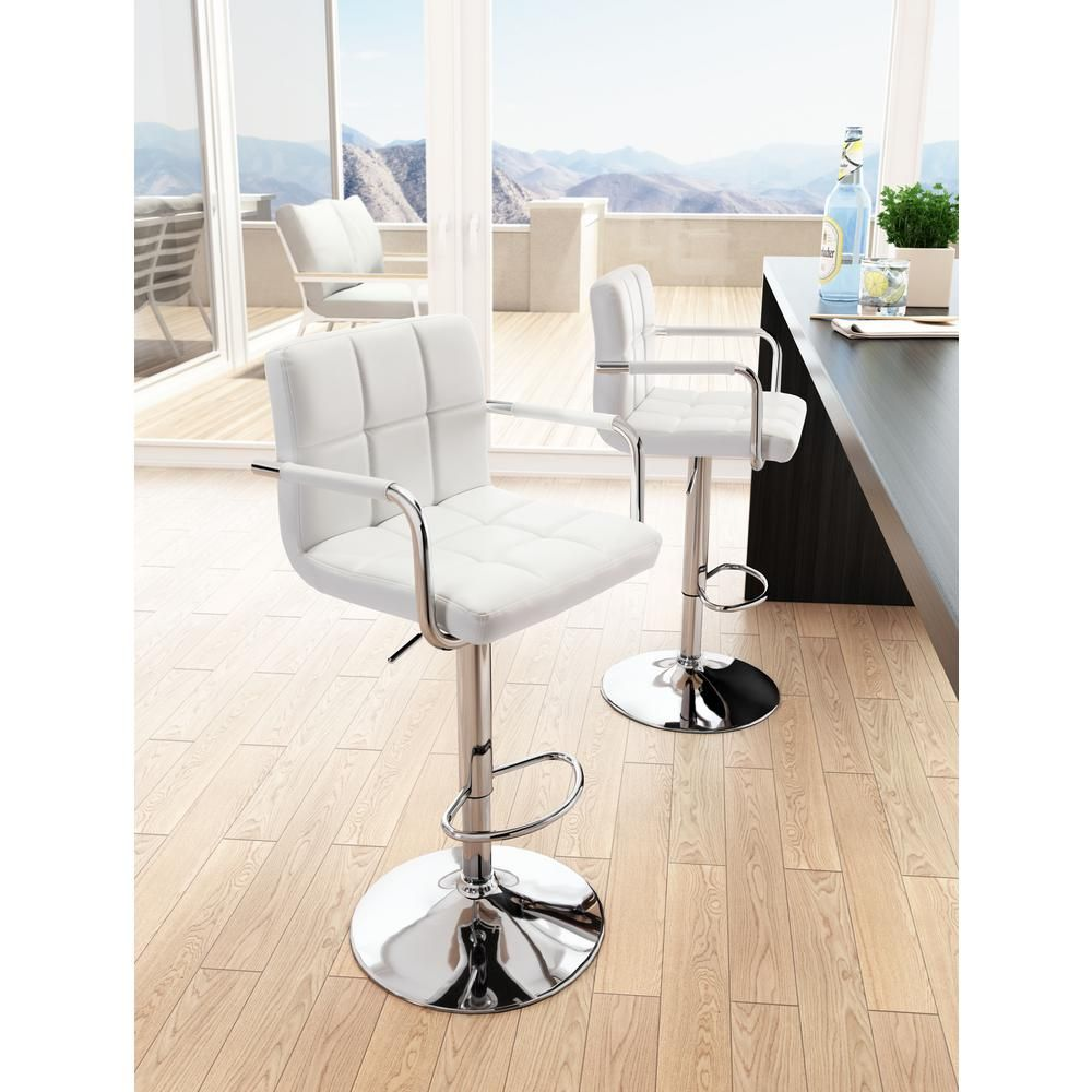 ZUO Henna 4 in. White Bar Chair-4 - The Home Depot in 4