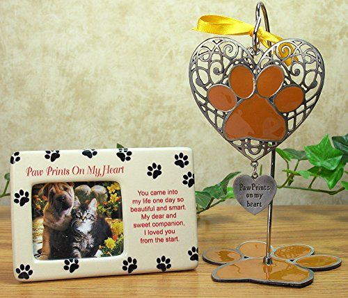 Pet Memorial Bereavement Photo Frame Plaque & Paw Prints On My Heart ...