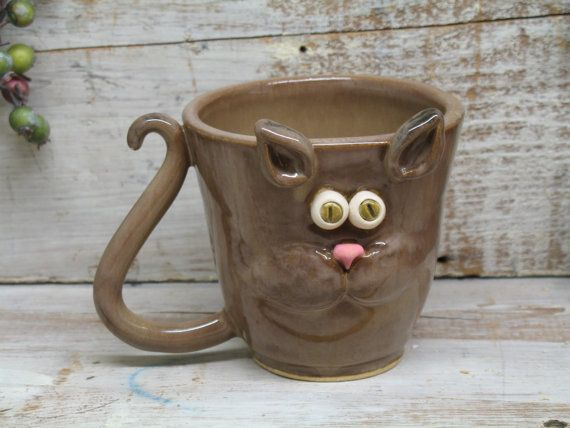 Cool coffee cat mug hand made mugs pottery by heidi for Pottery cup ideas