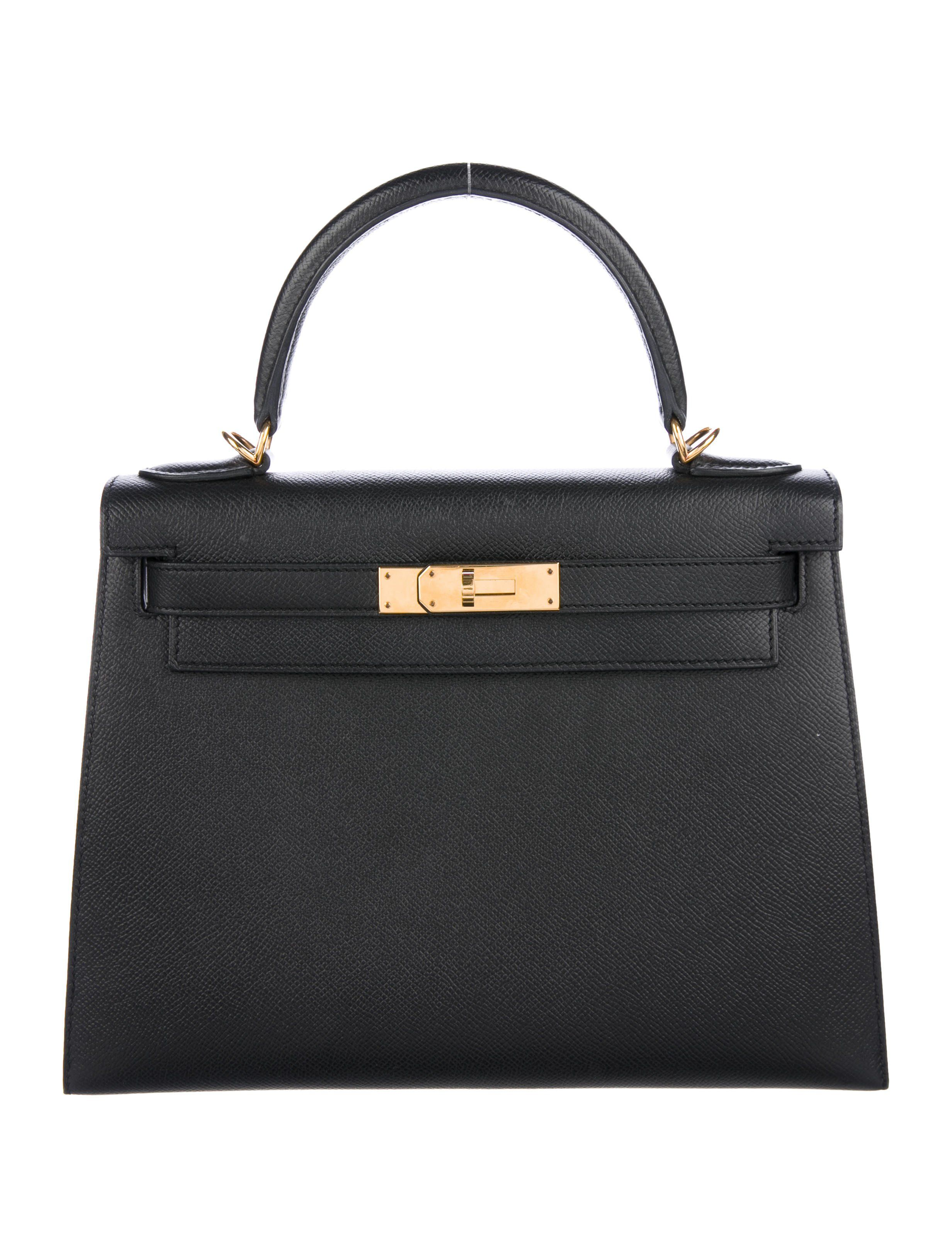 89f8f67226 Black Epsom leather Hermès Kelly Sellier 28 with gold-plated hardware