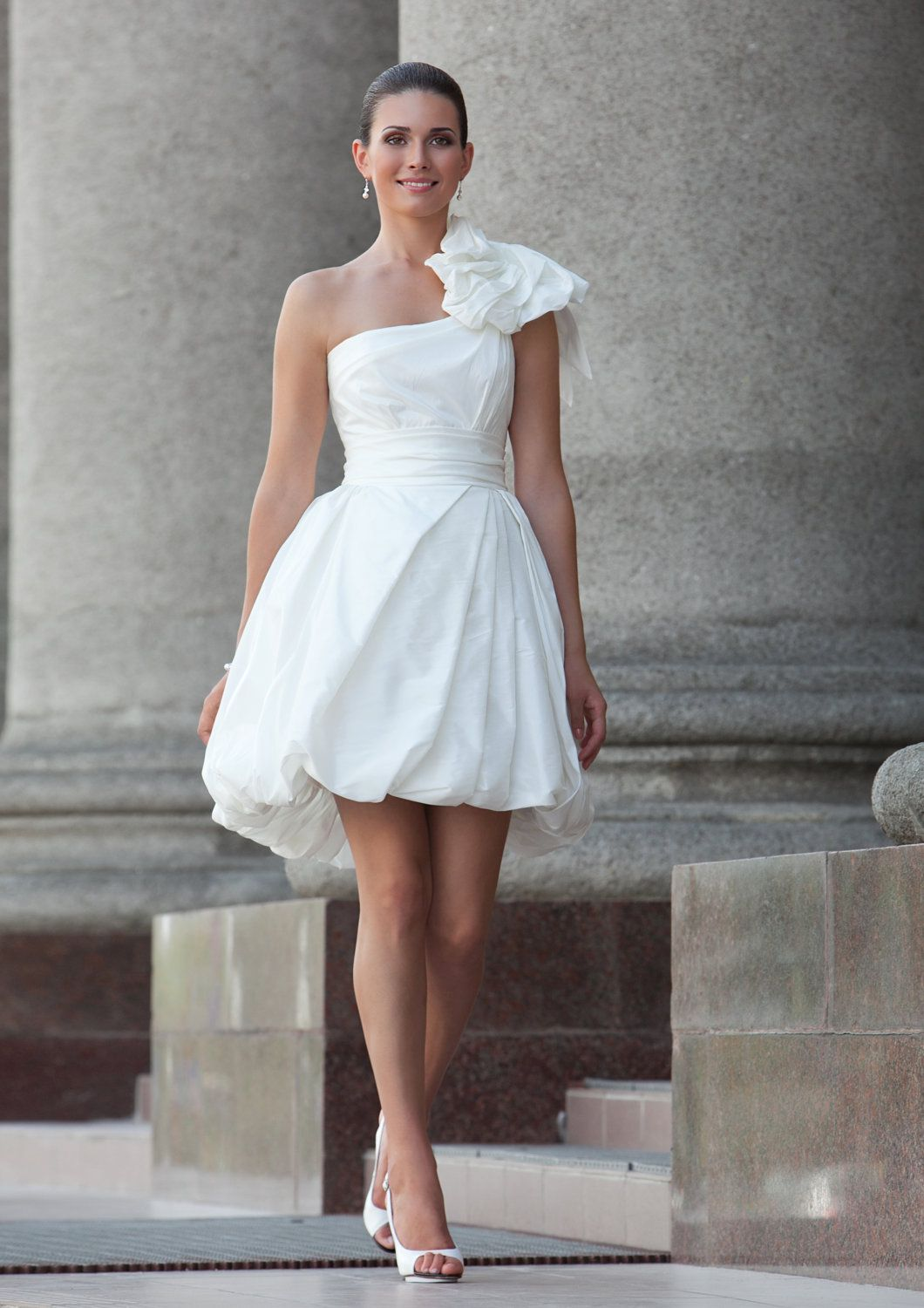 Dresses for guests at a beach wedding  White short dress for rehearsal dinner or beach wedding