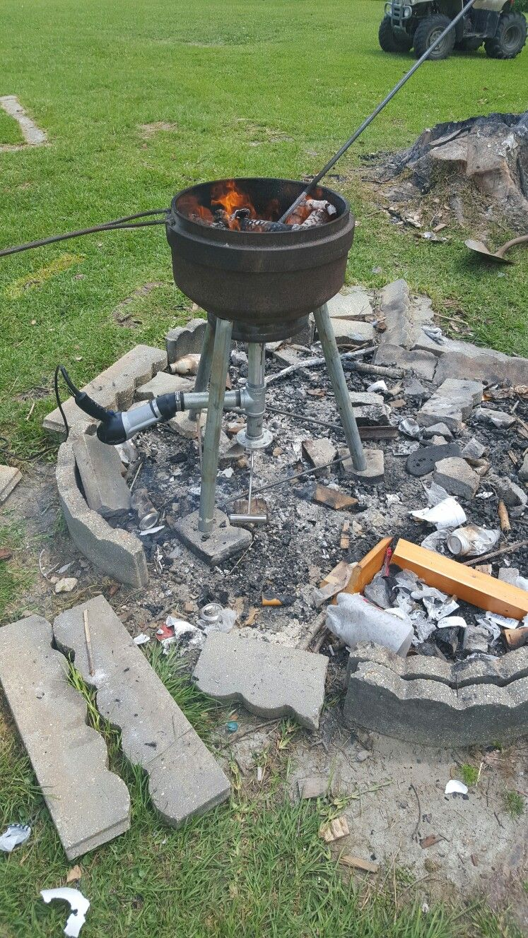 First firing of the forge constructed in one day for under $50