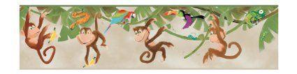 York Wallcoverings ZB3218BD Monkey Border, Sand Beige/Orange/Red/Lime Green/Teal/Leaf Green/Brown - Amazon.com
