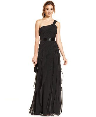 Adrianna Papell One-Shoulder Tiered Chiffon Gown - Dresses - Women - Macy's BLUSH