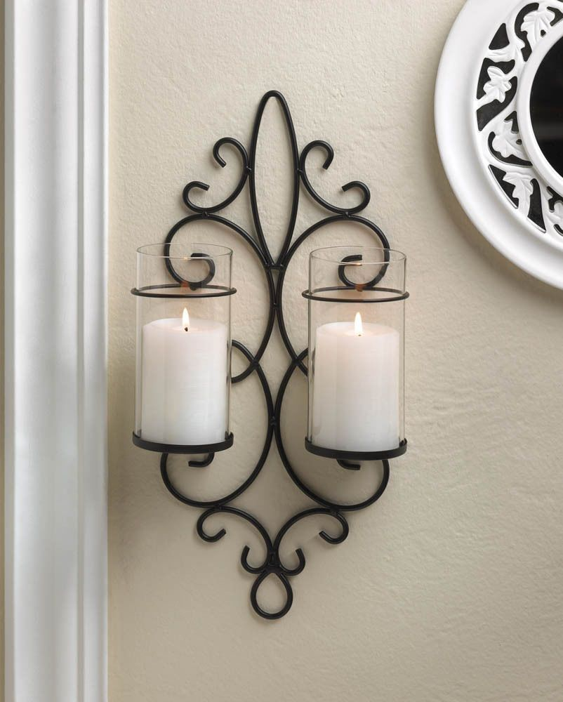 Black iron scroll artisanal sconce wall mount hurricane garden black iron scroll artisanal sconce wall mount hurricane garden candle holder amipublicfo Image collections