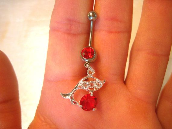 Belly Button Ring Navel Naval Red Clear Crystals Barbell Silver Tone Dolphin Jewelry Arianrhodwolfchild Piercing Gift Bellybutton Belly Belly Anillos