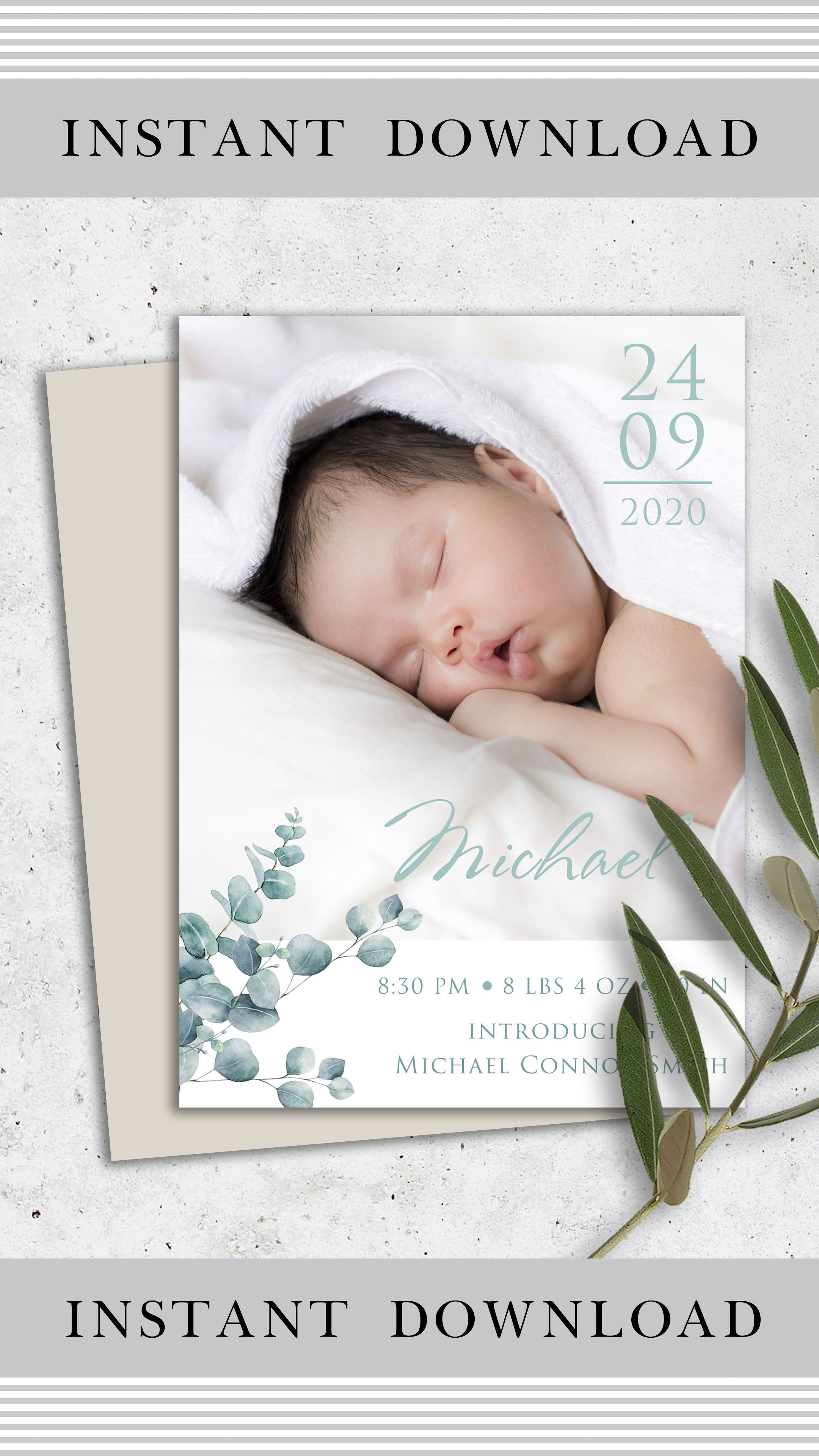 Custom Baby Birth Announcement Template Card Template With Etsy Birth Announcement Template Baby Birth Cards Welcome Baby Cards