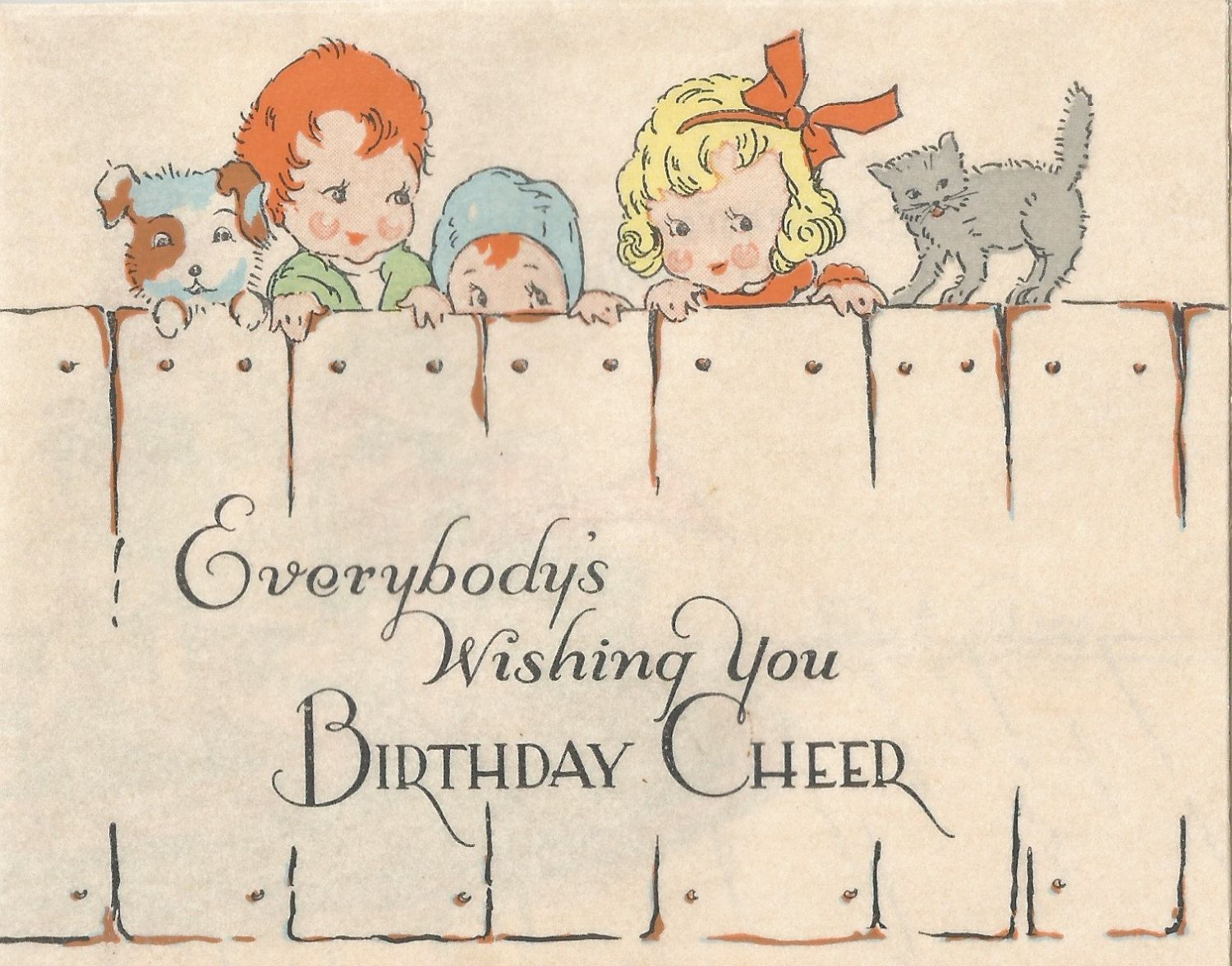 Vintage Art Deco birthday card children digital download printable image by BigGDesigns on Etsy