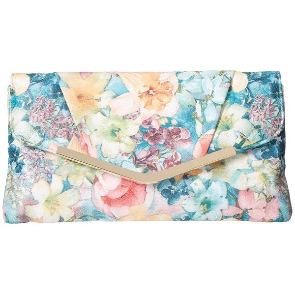 Jessica McClintock Arielle Soft Floral Envelope Clutch (Floral) ($48) ❤ liked on Polyvore featuring bags, handbags, clutches, floral print purse, envelope clutch bags, imitation handbags, flap handbags and flower print handbags