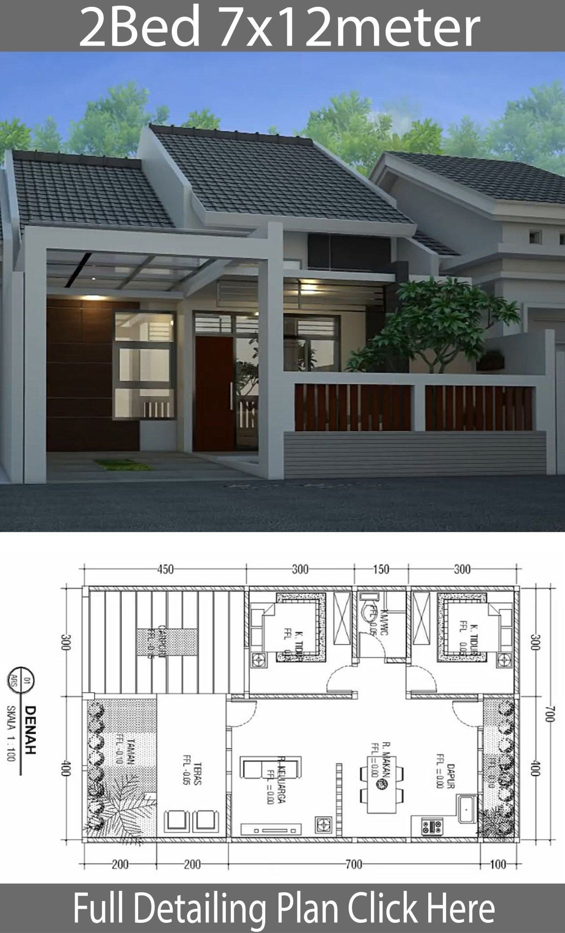 Minimalist Floor Design One Floor House 7x12m Home Design With Plansearch Bungalowhousede Modern House Design Minimalist House Design Home Design Floor Plans