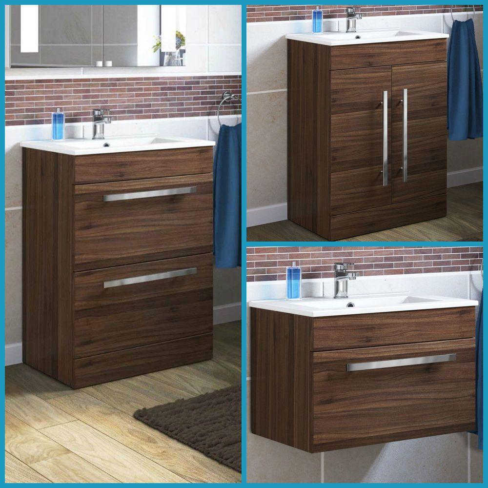 Modern bathroom walnut storage furniture cabinet u ceramic sink