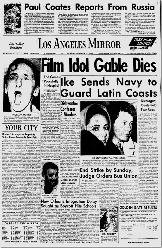 Clark Gable dies and Liz Taylor leaves hospital with Eddie