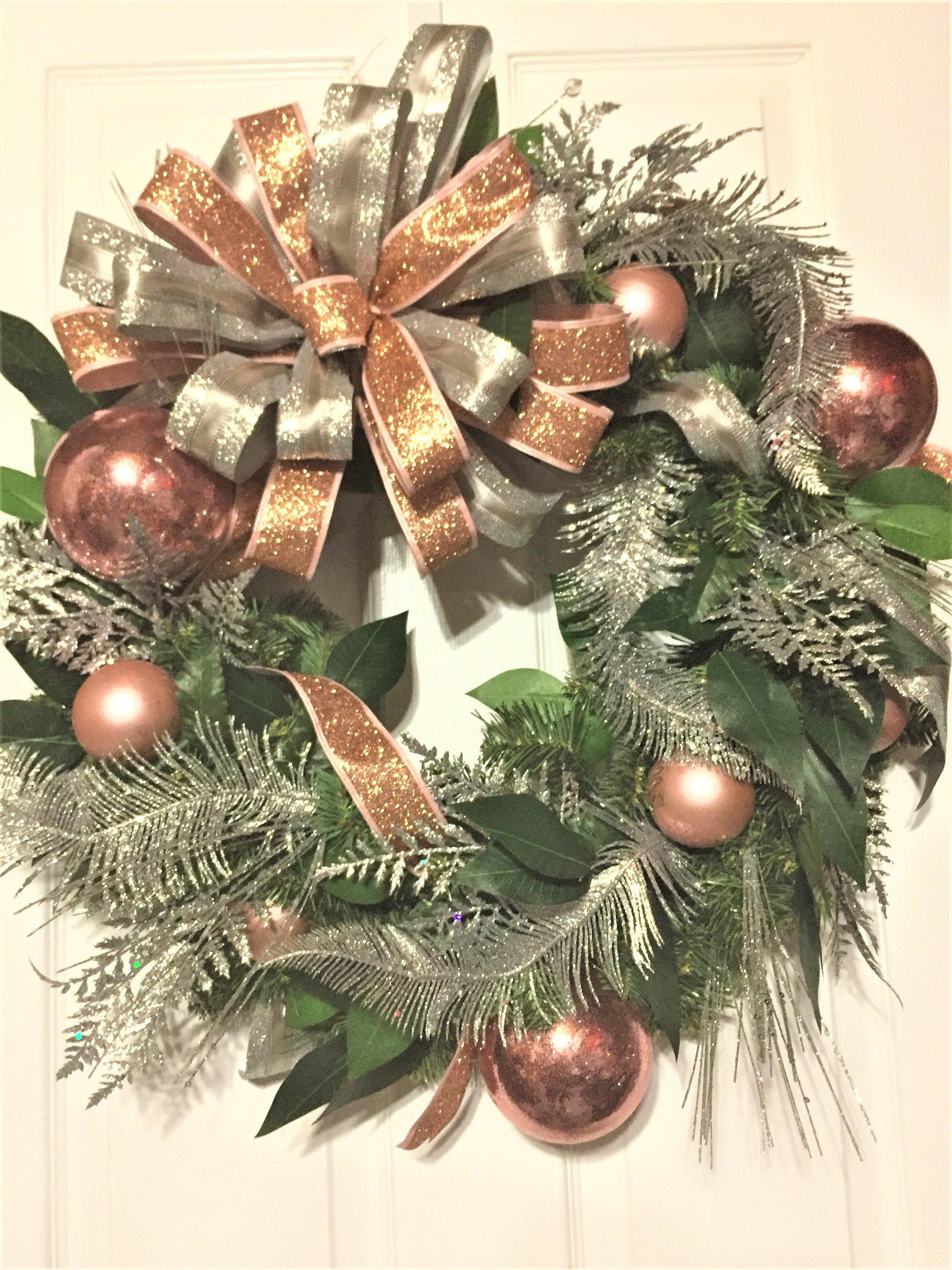 Christmas Rose Gold And Silver Wreath Elegant Front Door Etsy Christmas Wreaths Rose Gold Christmas Christmas Decorations