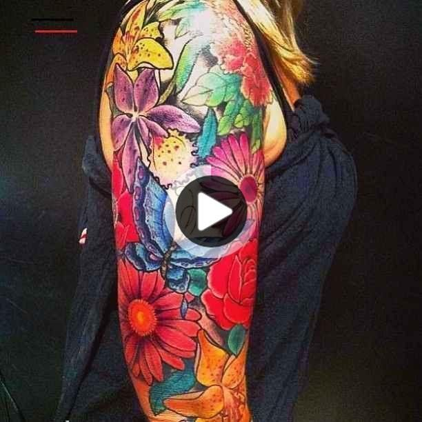 Photo of Butterflies and Flowers Tattoos Flowers and butterfly tattoo on half arm – butte…