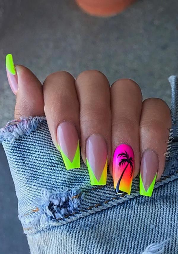 51 Cool French Tip Nail Designs With Images Yellow Nails Neon Acrylic Nails Yellow Nails Design