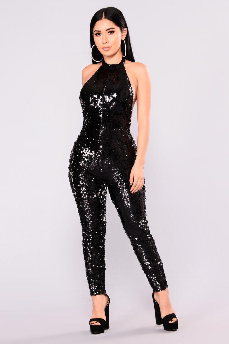 Genie In A Bottle Sequin Jumpsuit - Black