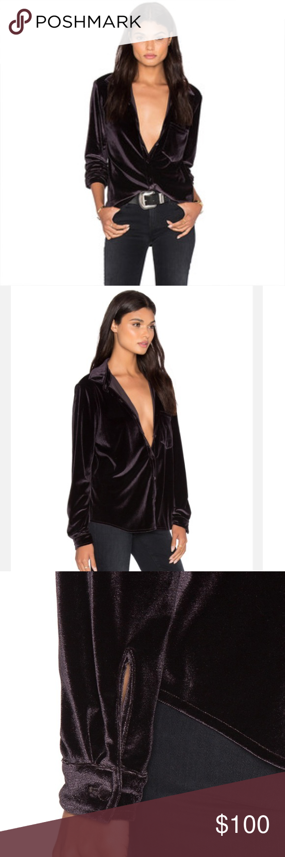 bc490218b LPA Top 16 velvet button down shirt blouse Perfect shape! Can be buttoned  all the way up or worn open as seen here. It's a dark purple/black velvet.