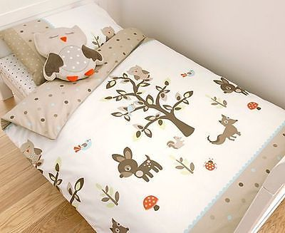 Boys S Woodlands Wood Deer Fox Animals Tree Single Duvet Cover Set Cot Bed
