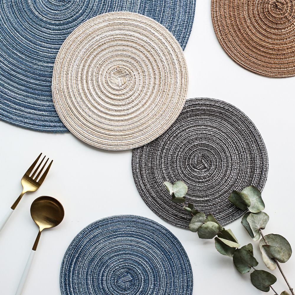 Nordic Round Design Table Placemat Ramie Insulation Pad Coasters Solid Placemats Linen Anti Slip Table Mat Kitchen Acces Placemats Round Design Creative Design
