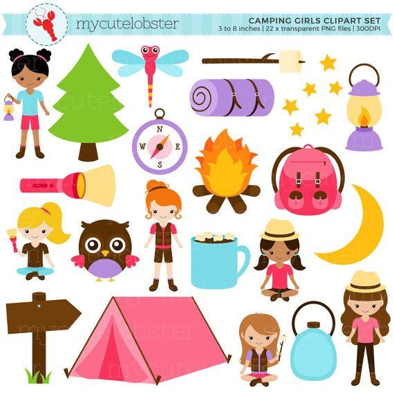 Camping Girls Clipart Set Clip Art Set Of Camping Items Tent Moon Torch Compass Personal Use Camping Items Clip Art Art Set