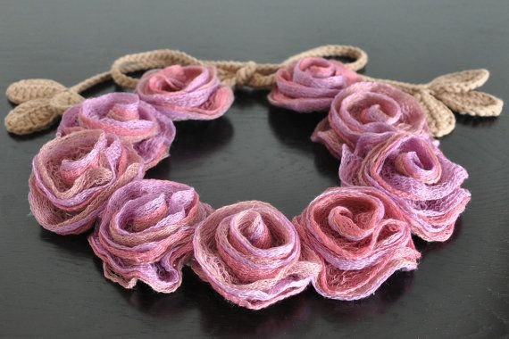 Love World Pink Lilac Handmade Rose Crochet Leaf by jennysunny