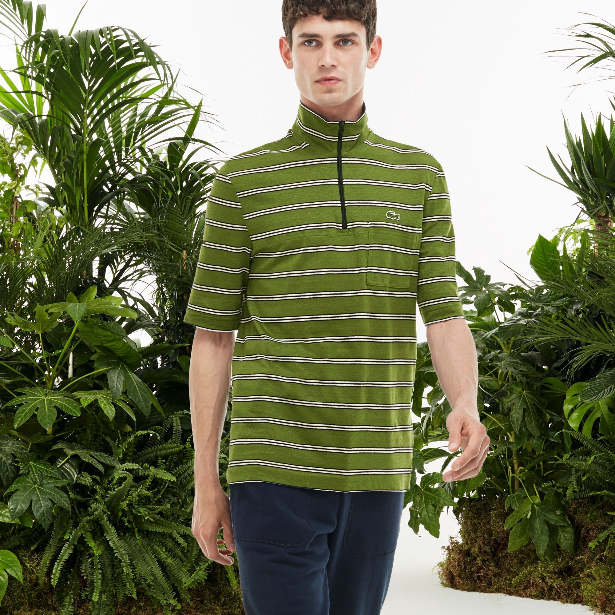 ae72a782857cc6 LACOSTE Men S Fashion Show Jersey Slim Fit Zip Striped Polo Shirt - Lemon  Balm Abyssal Blue-Plemon Balm Abys.  lacoste  cloth  all