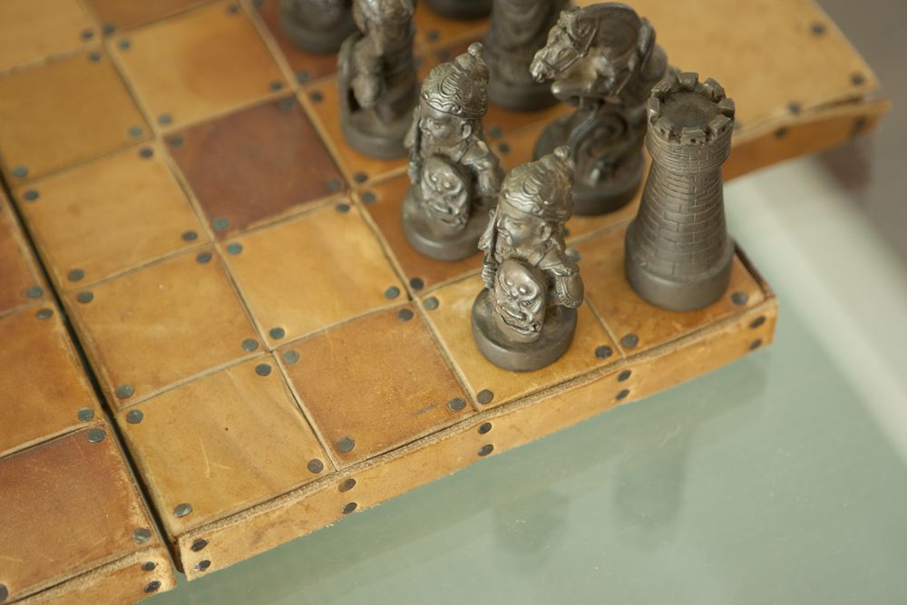 leather chess board.