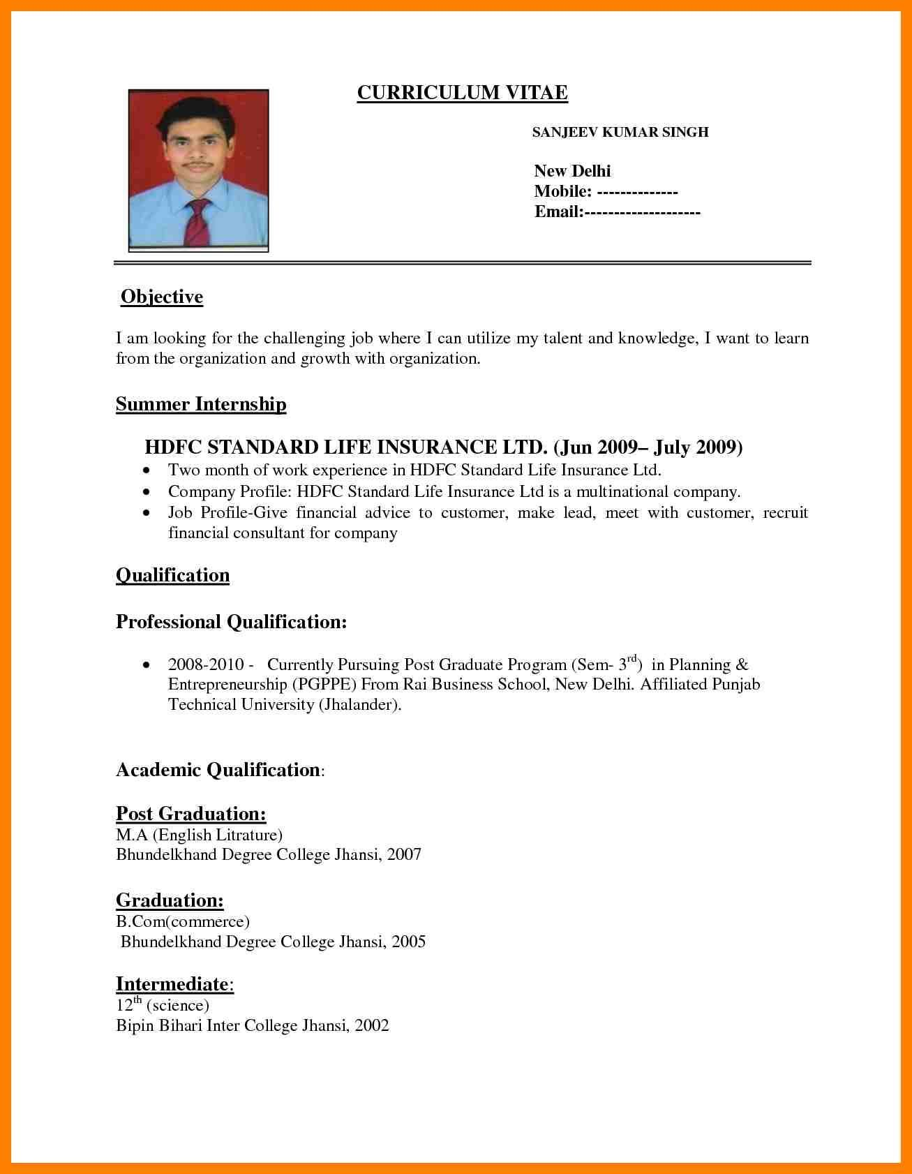 Resume Format India Resume Templatesformat india