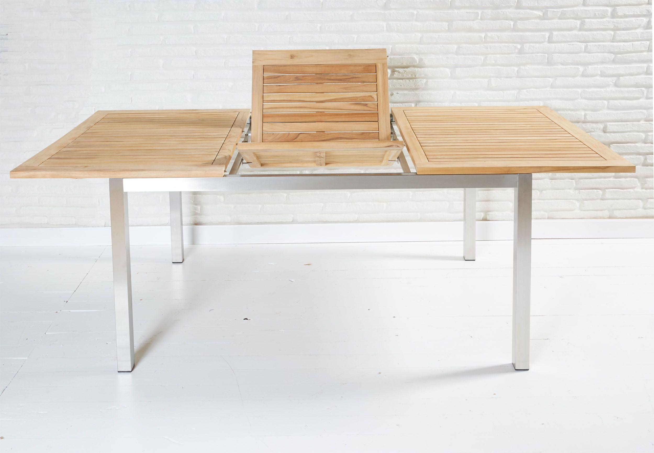 Gartentisch aus FSC-Teakholz und Edelstahl, ausziehbar... Da findet ...