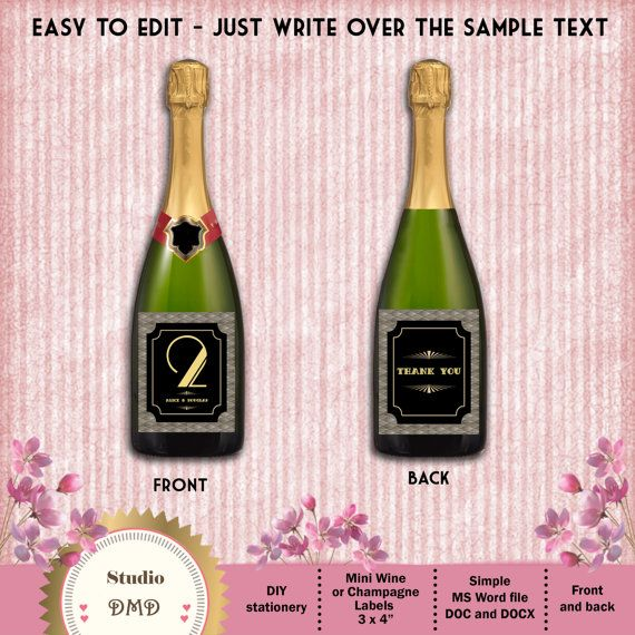 Great Gatsby Art Deco Custom FullSize Or Mini Wine Or Champagne - Mini wine bottle labels templates