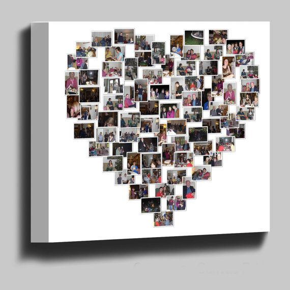 Heart Shaped Collage Canvas Print - 20x20 Inches 65 Photos ...
