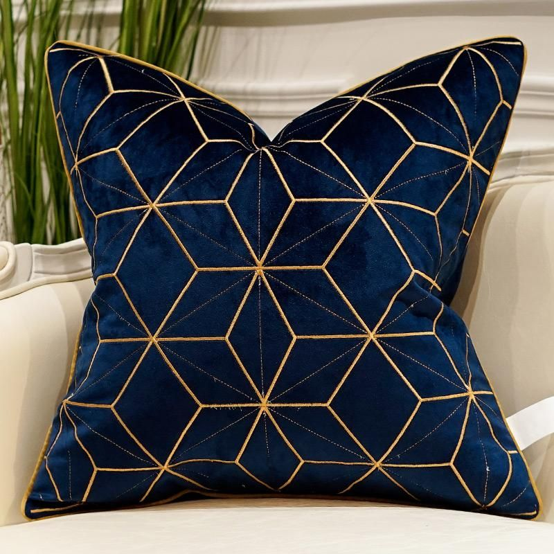 Deep Blue Pillow Case | Blue and gold