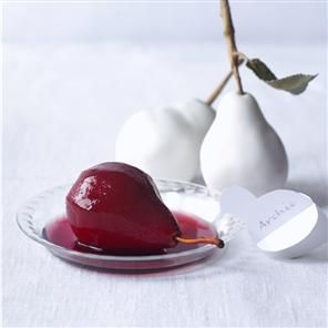 Poached mulled wine pears - Delicious. Magazine - How else would I use up the leftover spiced wine from Christmas?