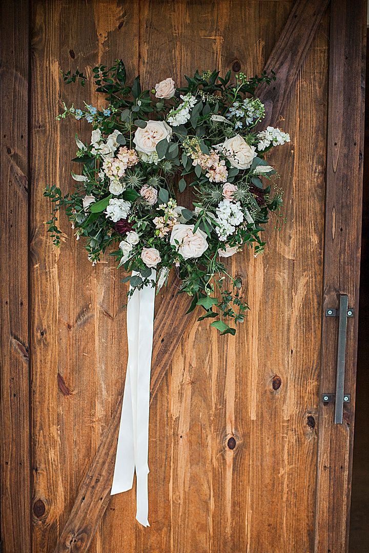 Green, blush, and ivory wedding flowers at outdoor modern ...