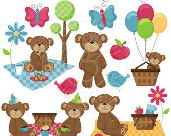 Teddy Bear Picnic Clip Art Picknick Bären Cute Digital Clipart