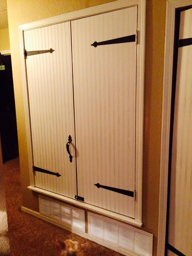 We Have Our Ac And Hot Water Heater In This Huge Hall Closet And That Sits Right Next To Our Coat Water Heater Closet Hot Water Heater Closet Hide Water Heater