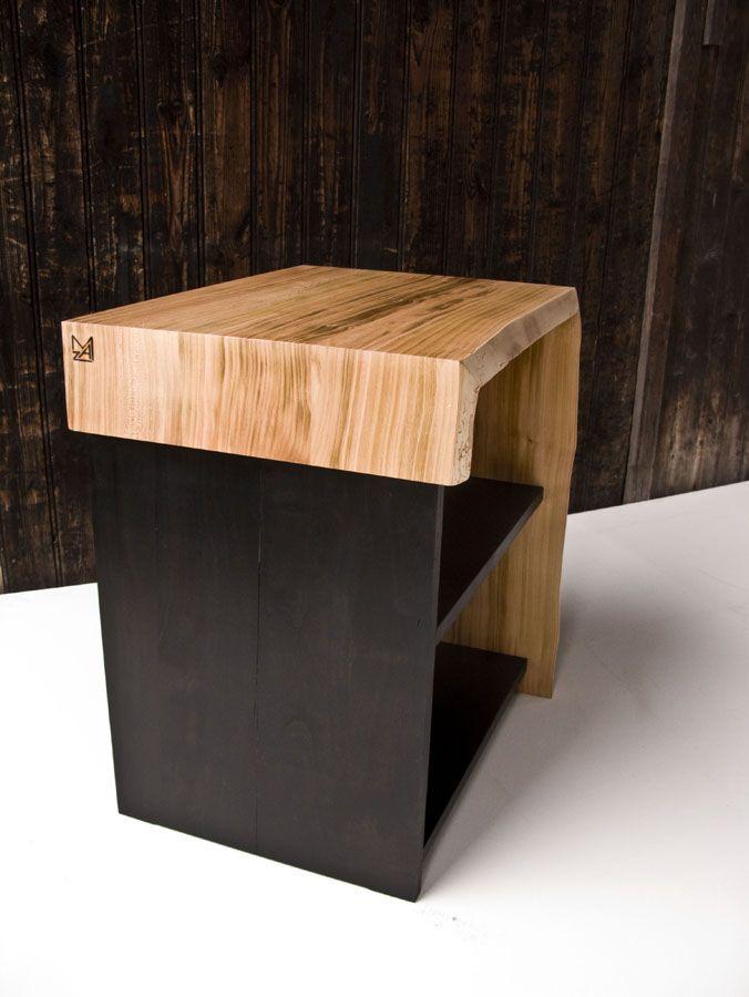 Table de chevet Cerisier massif Teinte noire et huile-cire naturelle - Peindre Table De Chevet